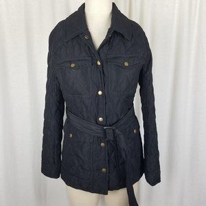 J Crew Quilted Goose Down Belted Field Trench Coat